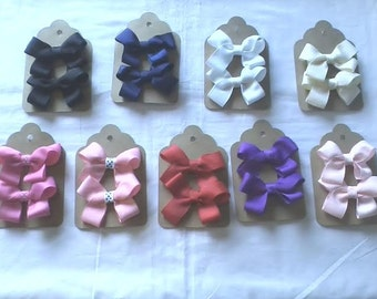 Pig Tail Bows Sold in Sets-  Your choice of Alligator clips or Hair Tie Finish