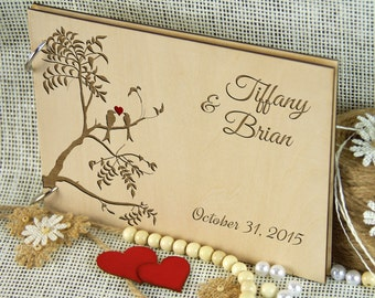 Unique custom Wedding-Anniversary-Bridal shower guest book, Personalized gift, Memory album, Laser engraved, Rustic theme, Wedding decor.