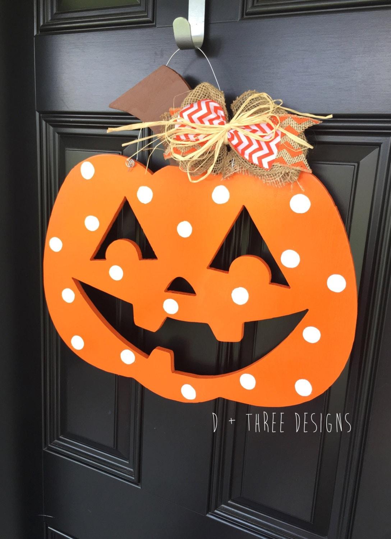 polka dot pumpkin door hanger      fall wreath      autumn monogram      painted jackolantern fall