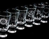 Supernatural themed Shot glass. Bespoke engraving.