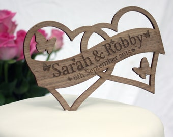 Wedding Cake Topper Decoration Heart Shaped and Personalised-Names, Mr & Mrs, Engagement, Anniversary and Date. Rustic Feel Cake Topper.