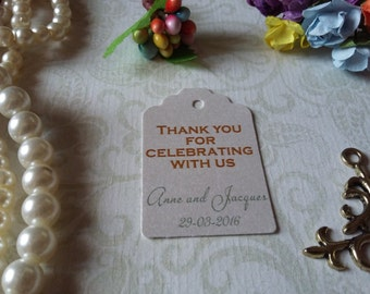 shimmer pearl tag Thank you for celebrating tag - Wedding - Personalized wedding tag - Wedding gift tag -Set of 25 to 300 pieces Mini tag