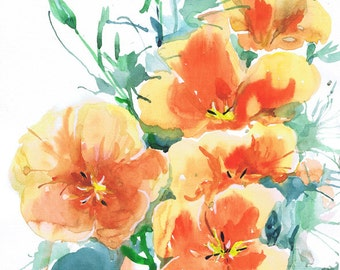 SALE, Poppy original painting,  watercolor, California poppy, Flower Painting, original watercolour , poppy wall art, original art