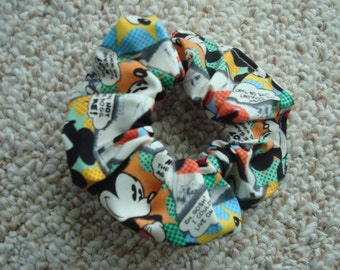 Mickey Mouse Scrunchie / Ponytail Holder / Fashion Accessory / Hair Tie / Made in USA / Handmade