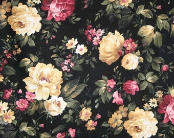 COTTAGE ROSE Fabric By the Yard Fat Quarter Shabby Chic Romantic Floral Roses Flowers Black 100% Cotton Quilting Apparel Fabric BTY t1/39