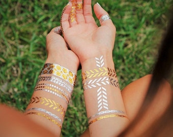 Gold Arrow Tattoos, Chevron Metallic Tattoos, Chevron Metallic Gold Tattoos, Boho Arrow Metallic Gold Arrow Temporary Tattoos, Arrow Tattoo