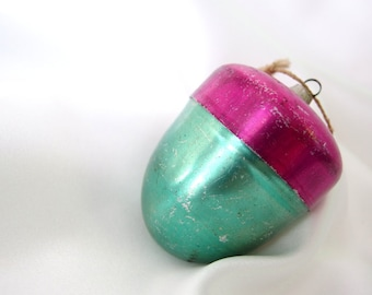 Vintage Aluminum Acorn Christmas Ornament Green and Hot Pink