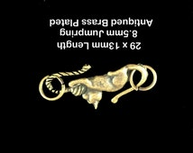 Antiqued Brass Plated Cat Clasp 29x13mm Hook and Eye