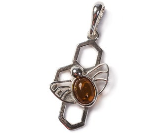 Cognac Amber & Silver Bee on Honeycomb Pendant with Silver Chain