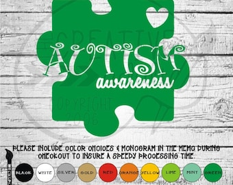 Autism Awareness Puzzle Piece -  Vinyl Decal Sticker - Available in variety of sizes and colors