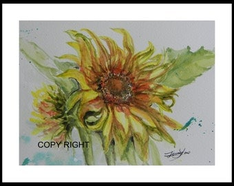 "Original Watercolor Painting, Sun Flowers, With Mat 10""x8"", open are 8""x61/4"", 150156"