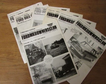 Set of vintage Ford MKII Owners Club newsletters