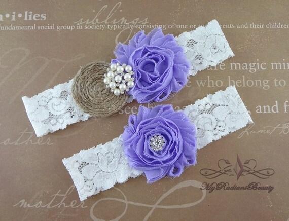 Garter, Wedding Garter, Bridal Garter, Burlap Garter, Rustic Garter, Handmade Garter Set, Violet Purple Shabby Garter, Garter Belt GTF0025V