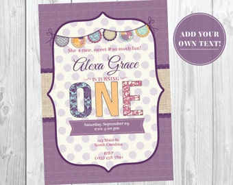 First Birthday Invitation - 1st Birthday Invite - First Birthday Party - Instant Download