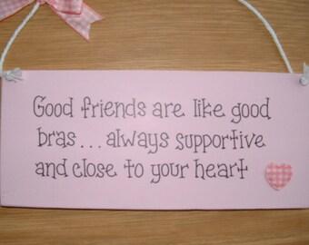 Good friends gift plaque. friendship,pink,heart