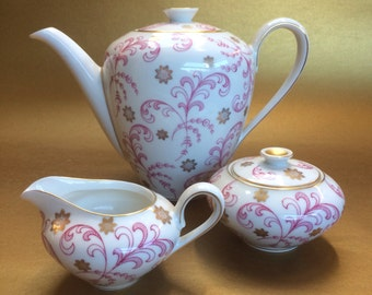 Vintage Beauty KPM Krister German China Coffee Teapot Cream & Sugar Bowl