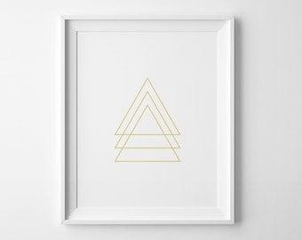 Gold print, printable art, geometric print, modern print, geometric wall art print, geometric poster, wall art printable, gold geometric art
