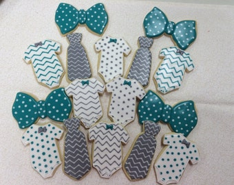 16 Baby boy ties and bow tie cookies
