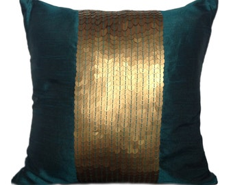 Teal Decorative Pillow Cover Teal Gold Sequin Pillow Embroidery Pillow Sequin accent pillow Size 14x14 16x16 18x18 20x20 22x22