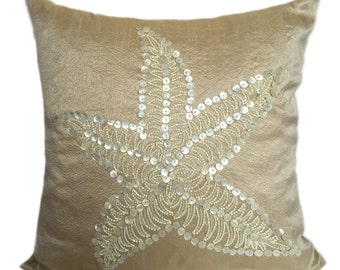 Decorative Pillow Beige Pillow Mother Of Pearl Pillow Starfish Pillow Nautical Beige Pillow Accent Couch Sofa Pillow Coastal Starfish Pillow