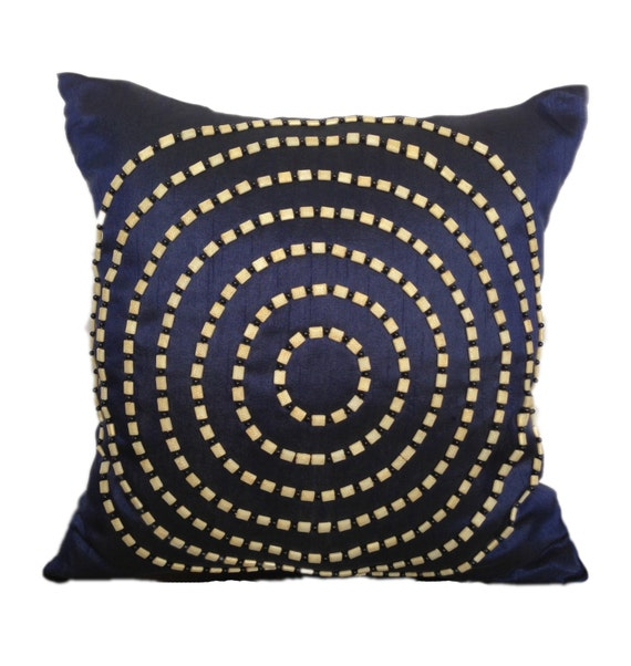 Blue Beaded Throw Pillow : Dark blue beaded pillow navy decorative by TheWhitePetalsDecor