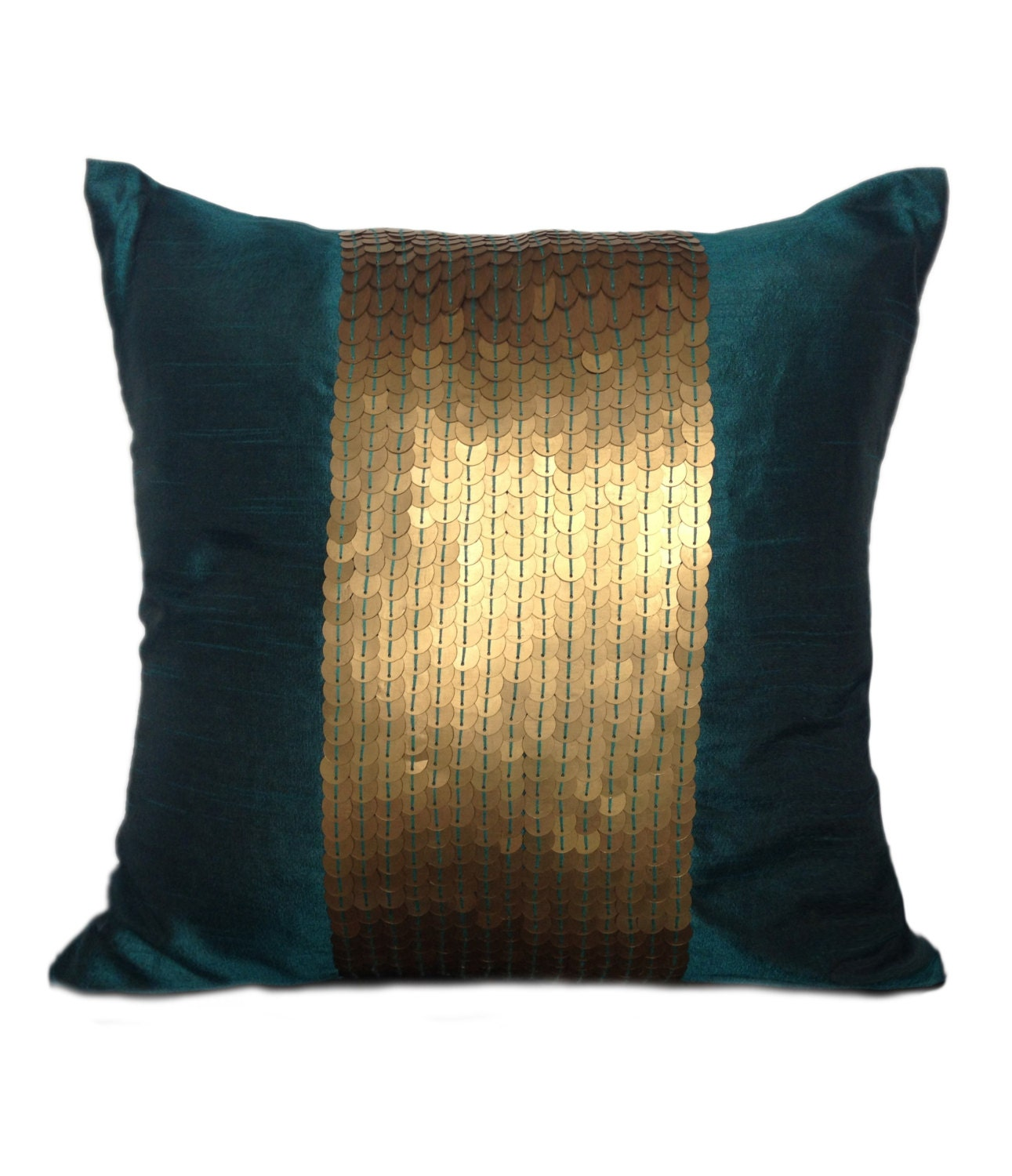Teal decorative pillow cover teal gold sequin pillow for Decor pillows