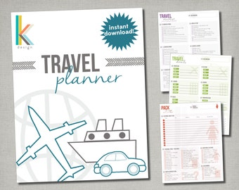 Printable Travel and Trip Planner, Instant Digital Download