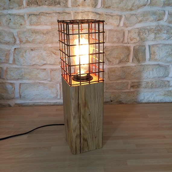 Solid oak table lamp desk light rustic rusty metal cage light for Chunky wooden floor lamp