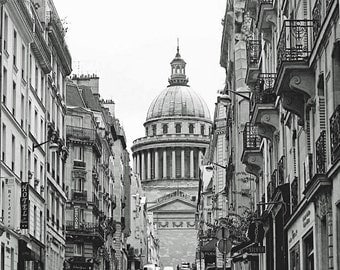 Paris Photo, Black and White, Photography Print, Paris Pantheon, Latin Quarter, Wall Art, French Home Decor, 8 x 10 Photo, 11 x 14 Print