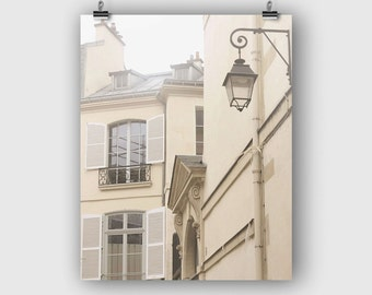 Paris Photograph, France Photography, Fine Art Print, Paris Gift, Beige Art, French Wall Decor, Wall Art, Paris Morning, Street Lamp