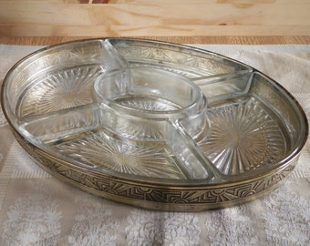 Art Deco divided appetizer dish, compartmentized glass