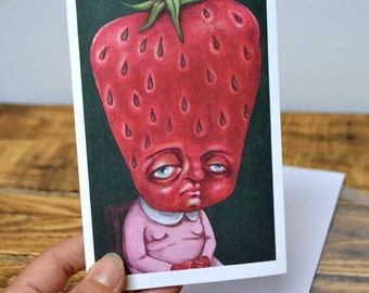 Strange Strawberry girl greetings card