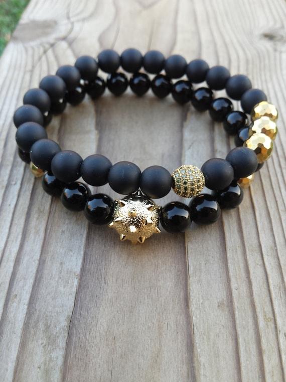 Men S Bracelet Men Black Bracelet Gold Sanding By