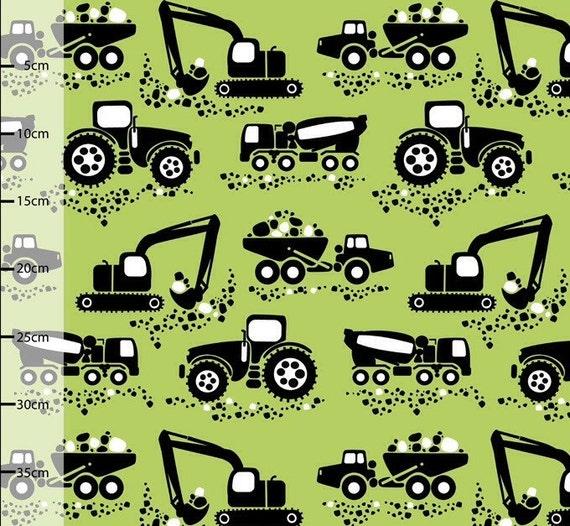 Fabric by the Yard, Machines Organic Jersey in Green Apple, Euro Knit Fabric, PaaPii Fabric, Truck Knit Fabric, Green knit Fabric, boys knit