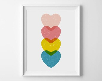 Printable Art, Heart Art, Graphic Poster, Nursery Wall Art, Printable Nursery Art, Nursery Decor, Kids Room Prints, DIGITAL DOWNLOAD ART