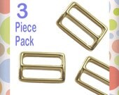 """1.25 Inch Slide for Purse Straps, Shiny Brass / Gold Finish, 3 Pieces, 1.25"""", 1-1/4 Inch, Handbag Bag Making Hardware Supplies, BKS-AA037"""