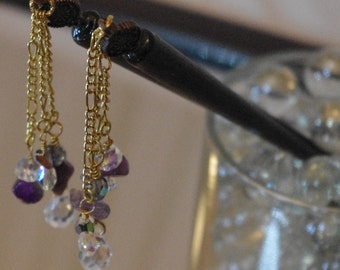 Amethyst and Wood Hairstick Pair