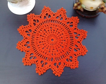 Crochet Doily orange-red Summer Party Hand crochet doilies Party decor