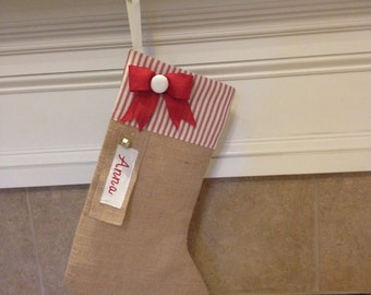 Burlap Stocking, Burlap Christmas Stocking, Personalized Christmas Stocking