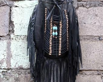 ON SALE Black boho bag, fringe purse, Indian inspired leather bag size L black with black and natural choker