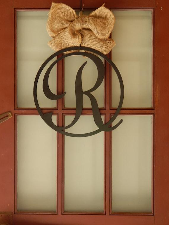 14quot monogram front door circle last name initial door for Metal letters for front door