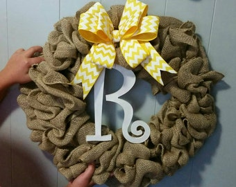 Burlap Wreath - Yellow & White Chevron Bow - Initial