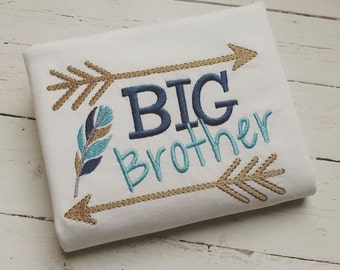 BIG Brother feather & arrows, Embroidery sayings, arrow embroidery, siblings, Embroidery design 4x4 5x7 6x10 new baby embroidery,