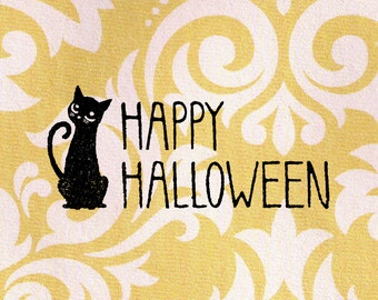 Happy Halloween Stamp, black cat stamp: Wood Mounted Rubber Stamp
