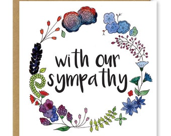 Sympathy card | with our sympathy | Sorry for your loss greetings card | Bereavement card