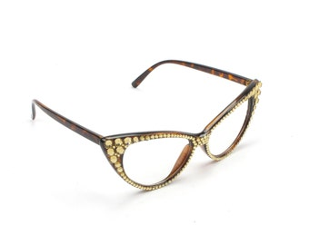 Fashion Bloggers Clear Sunglasses Brown With Crystals
