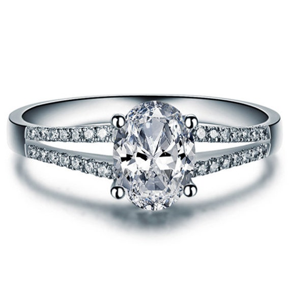 Oval Cut Split Shank Diamond Engagement Ring by ldiamondsforever
