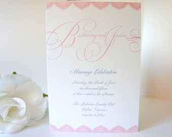 Elegant Pink Wedding Program - Wedding Ceremony Programs, Elegant, Light Pink, Shimmer, Wedding Program - DEPOSIT