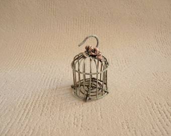 Delicate bird cage - antique Dollhouse miniature 1:12 - French furniture for the Villa rose