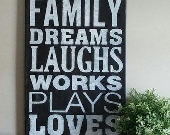 Subway Canvas Art -Our Family - 12x24 Home Decor